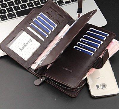 画像2: 長財布 メンズ 多機能 大容量 カード入れ23 小銭入れ ファスナー スナップボタン ブラウン ブラック (黒)