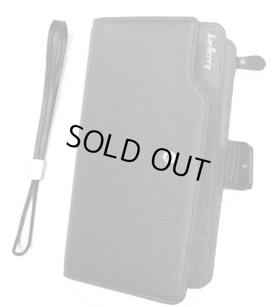 画像1: 長財布 メンズ 多機能 大容量 カード入れ23 小銭入れ ファスナー スナップボタン ブラウン ブラック (黒) (1)