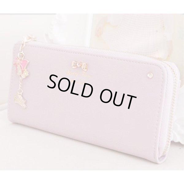 画像1: レディース パステルカラー ファスナータイプ 大容量 ストラップ付き 財布 (パープル) (1)