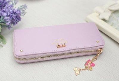 画像1: レディース パステルカラー ファスナータイプ 大容量 ストラップ付き 財布 (パープル)