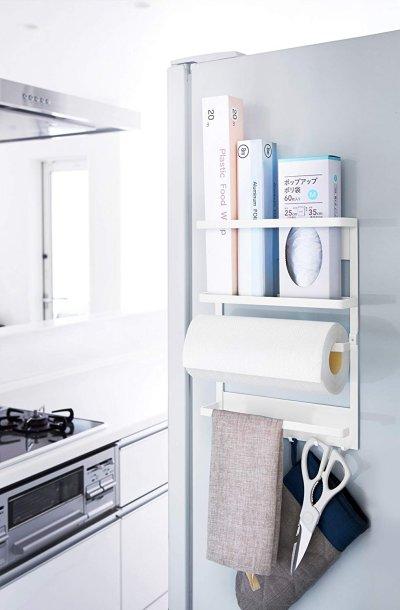画像1: 山崎実業 キッチンペーパーホルダー マグネット冷蔵庫サイドラック プレート ホワイト 2907